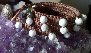 White Howlite & Green Jade wrapped onto leather cord restore and calm.
