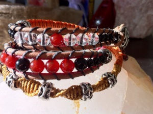 Loving the new Gypsy Wrap style.  This will wrap around the wrist 3 times: Black Agate, Red Garnet, Carnelian & Clear Quartz.